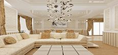 Натяжные потолки в гостинной комнате