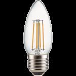 Ecola candle LED Premium 6,0W 220V E27 2700K 360° filament прозр. нитевидная свеча (Ra 80, 100 Lm/W, КП=0) 96х37