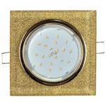 Ecola GX53 H4 Glass Стекло Квадрат скошенный край Золото - золотой блеск 38x120x120 (к+)