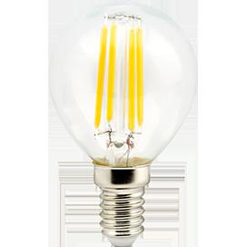 Ecola globe LED 5,0W G45 220V E14 4000K 360° filament прозр. нитевидный шар (Ra 80, 100 Lm/W) 78х45