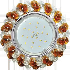 Ecola GX53 H4 Glass Круглый с хрусталиками прозрачный и янтарь/ хром 56x120