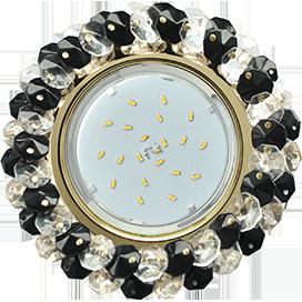 Ecola GX53 H4 Glass Круглый с хрусталиками прозрачный и черный/ золото 56x120