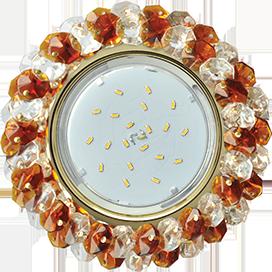 Ecola GX53 H4 Glass Круглый с хрусталиками прозрачный и янтарь/ золото 56x120