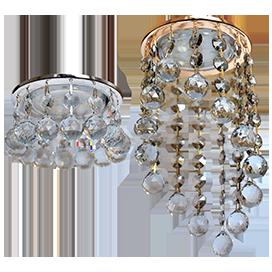 Светильники GX53 с подвесными хрусталиками