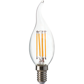 Ecola candle LED Premium 6,0W 220V E14 2700K 360° filament прозр. нитевидная свеча на ветру (Ra 80, 100 Lm/W, КП=0) 125х37