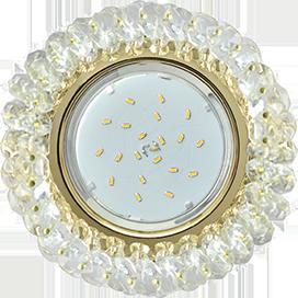 Ecola Light GX53 H4 Glass Круглый с хрусталиками Прозрачный /Золото 56x120