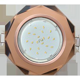 Ecola GX53 H4 Glass Стекло 8-угольник с прямыми гранями черненая медь - янтарь 38x133