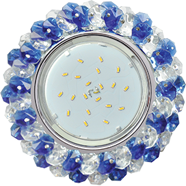Ecola GX53 H4 Glass Круглый с хрусталиками прозрачный и голубой / Хром 56x120