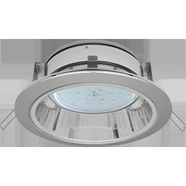 Встраиваемый потолочныйсветильник-спот Ecola GX53 H2R.C рефлектором. Цвет - Хром.