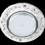 """Ecola GX53 H4 LD7071 Светильник встр. искристый с подсветкой """"Розы"""" Прозрачный / Хром 35x125 (к+)"""