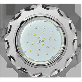 Ecola GX53 H4 Glass Стекло Круг с вогнутыми гранями хром - хром (зеркальный) 38x126