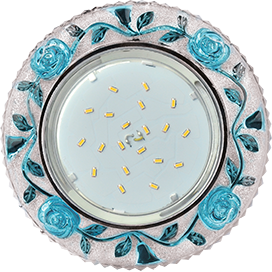 """Ecola GX53 H4 LD7071 Светильник встр. искристый с подсветкой """"Розы"""" Прозрачный и Голубой / Хром 35x125 (к+)"""