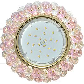 Ecola GX53 H4 Glass Круглый с хрусталиками Прозрачный и Розовый /Золото 56x120 (к+)