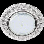 """Ecola GX53 H4 LD7009 Светильник встр. искристый с подсветкой """"Кристалл"""" Прозрачный / Хром 40x125 (к+)"""