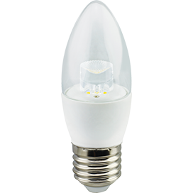 Лампа Ecola candle LED Premium 7.0W 220V E27 4000K прозрачная свеча с линзой (композит) 103х37
