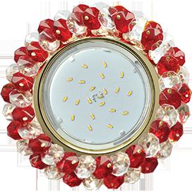 Ecola GX53 H4 Glass Круглый с хрусталиками прозрачный и рубин/ золото 56x120