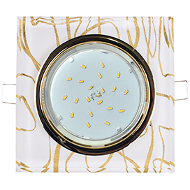 Ecola GX53 H4 Glass Стекло Квадрат скошенный край Золото - золото на белом 38x120x120 (к+)