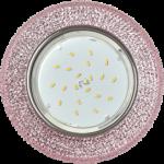 """Ecola GX53 H4 LD7069 Светильник встр. искристый с подсветкой """"Модерн"""" Светло-розовый / Хром 35x125 (к+)"""