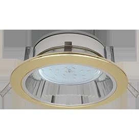 Встраиваемый потолочныйсветильник-спот Ecola GX53 H2R.C рефлектором. Цвет - Золото.