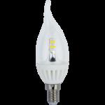 Лампа светодиодная Ecola candle LED Premium 4.0W 220V E14 2700K 320° прозрачная свеча на ветру искристая точка 125х37