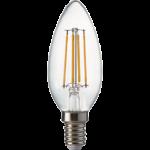 Ecola candle LED Premium 6,0W 220V E14 4000K 360° filament прозр. нитевидная свеча (Ra 80, 100 Lm/W, КП=0) 96х37