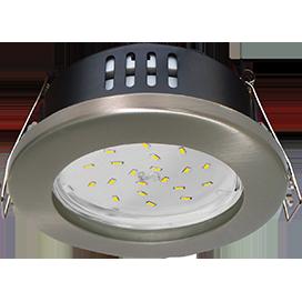 Ecola GX53 H9 защищенный IP65 светильник встраив. без рефлектора сатин - хром 98*55