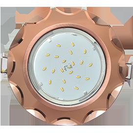 Ecola GX53 H4 Glass Стекло Круг с вогнутыми гранями черненая медь - янтарь 38x126